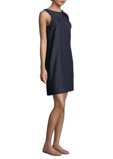 Max Mara Adress Sleeveless Ruffle Denim Dress