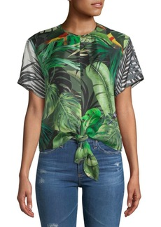 Max Mara Afro Printed Tie-Front Silk Top