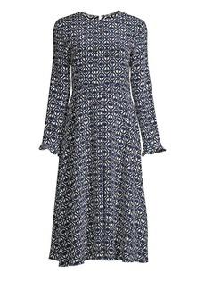 Max Mara Arte Print Silk Midi Dress