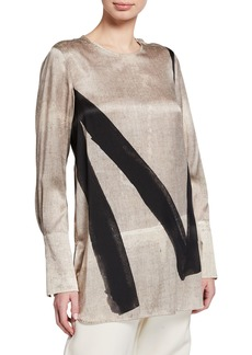 Max Mara Attore Painted Silk Tunic Blouse