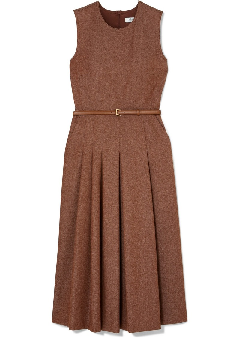 Max Mara Belted Brushed Wool-twill Midi Dress