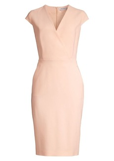 Max Mara Bill Cap Sleeve Belted Virgin Wool-Blend Sheath Dress