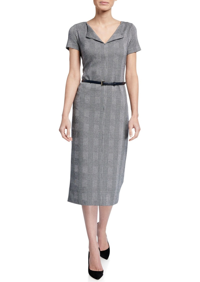 Max Mara Boris Houndstooth Jersey Belted Dress