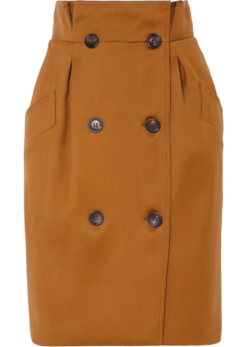 Max Mara Button-embellished Wool Skirt