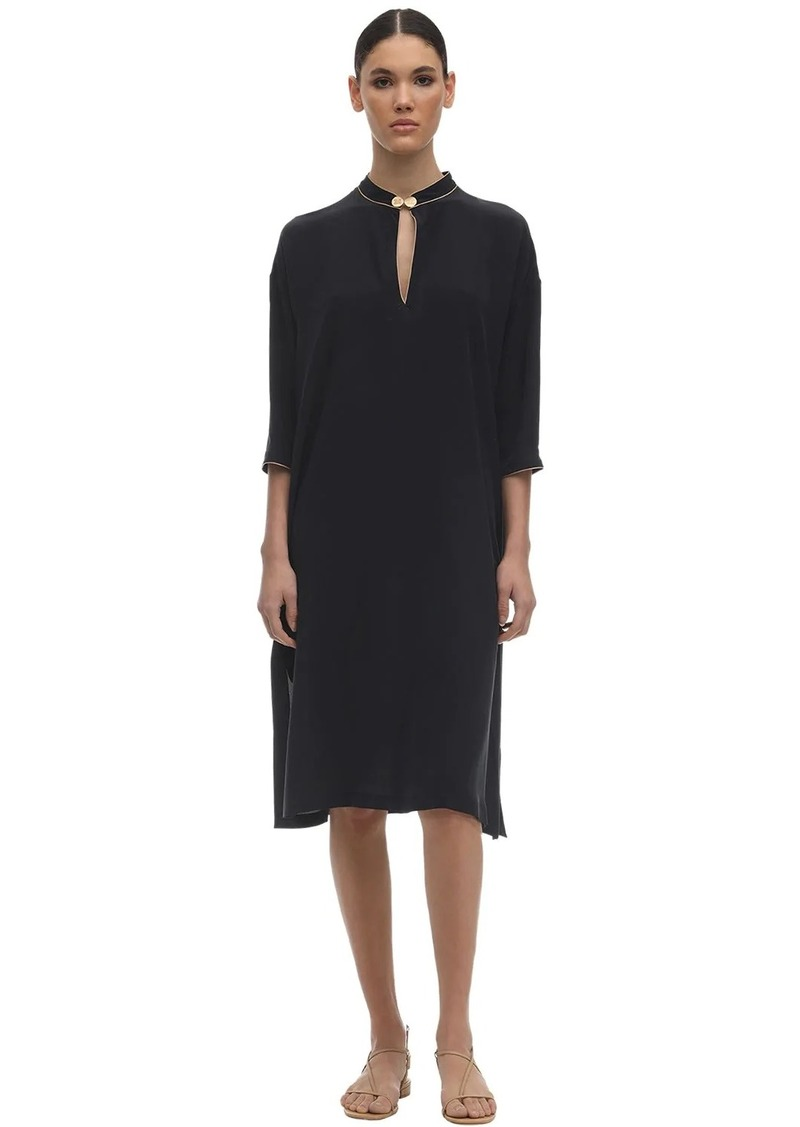 Max Mara Caftan Silk Crepe De Chine Midi Dress
