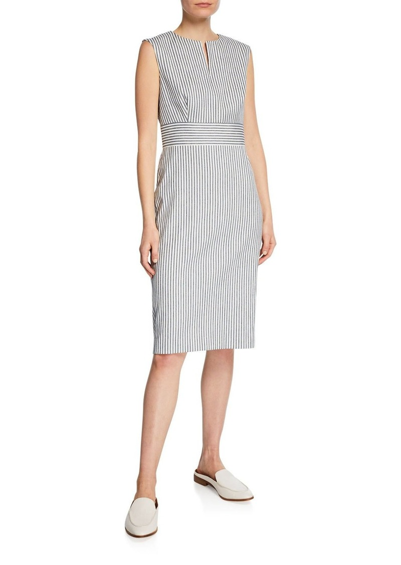 Max Mara Caraffa Ticking-Striped Sheath Dress