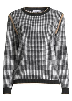 Max Mara Colle Cashmere & Wool Houndstooth Crewneck Sweater