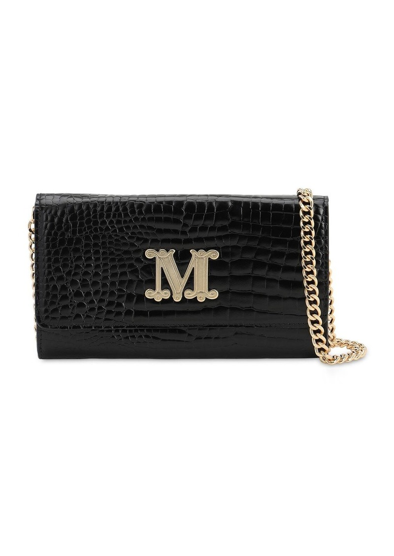 Max Mara Con 14 Embossed Leather Chain Wallet