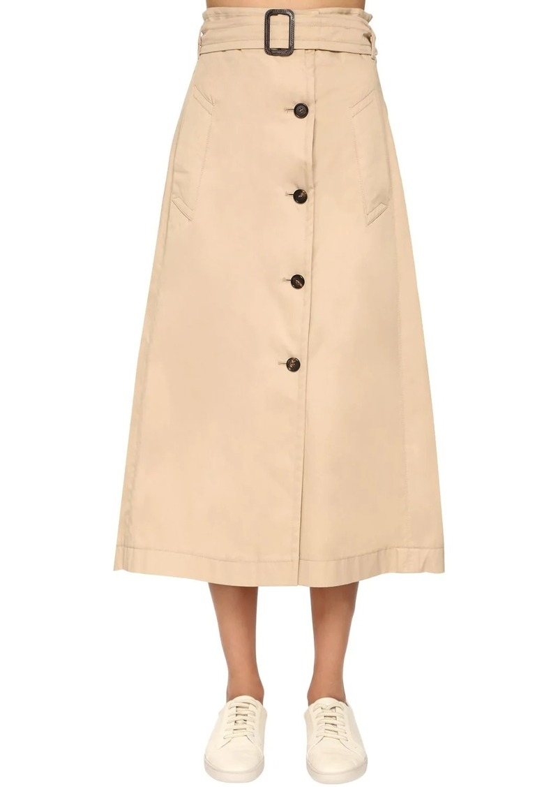 Max Mara Cotton Gabardine A Line Skirt