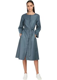 Max Mara Cotton Poplin Midi Dress W/ Belt