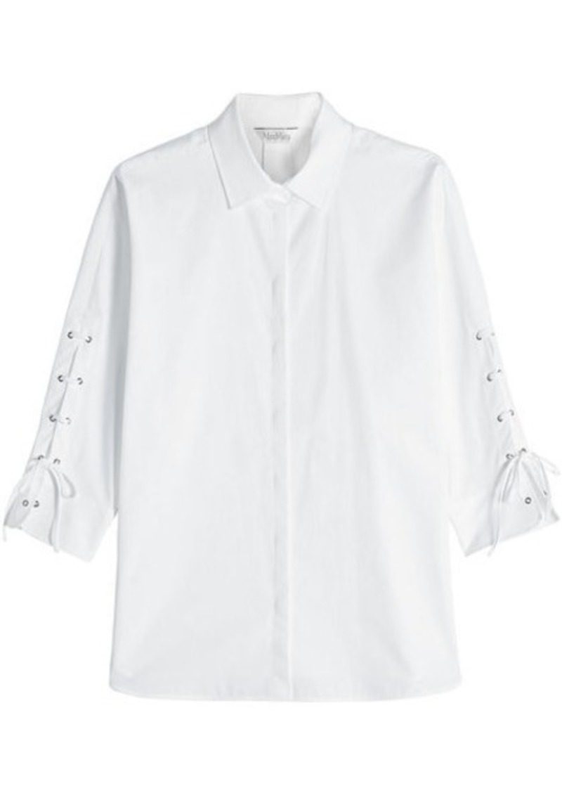 Max Mara Cotton Shirt with Lace-Up Sleeves