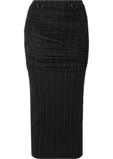 Max Mara Dalida Ruched Pintriped Stretch-jersey Midi Skirt