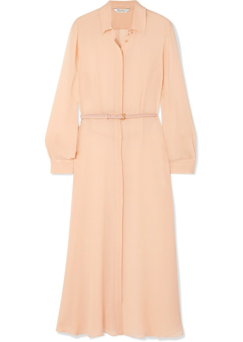 Max Mara Delfi Belted Silk-chiffon Midi Dress