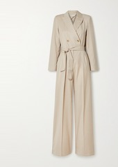 Max Mara Diana Double-breasted Belted Pinstriped Wool-twill Jumpsuit