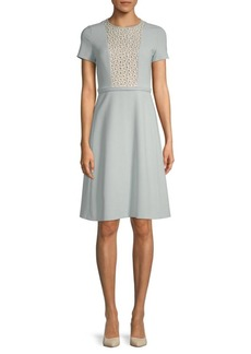 Max Mara Ecru Embroidered Short-Sleeve Dress