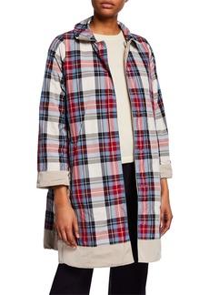 Max Mara Faille Reversible Check Raincoat  Gray