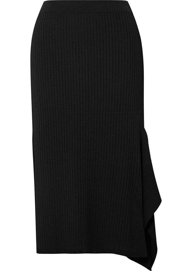 Max Mara Fano Draped Asymmetric Ribbed-knit Midi Skirt
