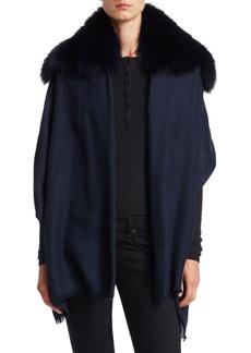 Max Mara Fox Fur Collar Cashmere Wrap