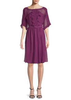 Max Mara Fratte Ruffled Silk Dress