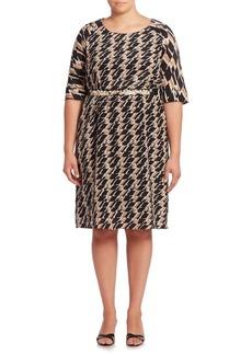 Max Mara Geometric Printed Belted Waist Dress