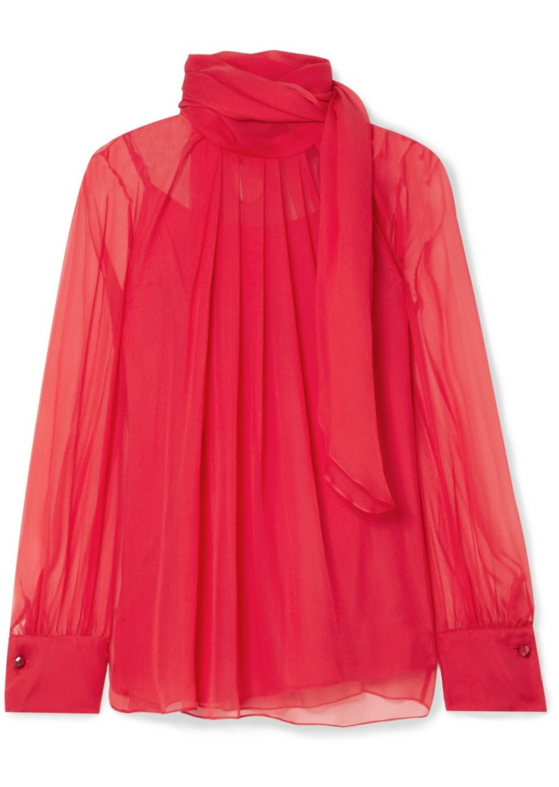 Max Mara Gerona Pleated Silk-chiffon Blouse