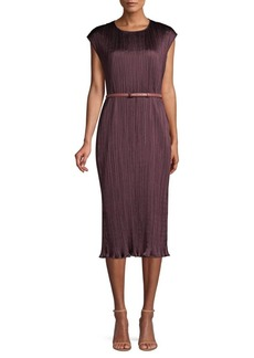 Max Mara Gineceo Belted Plissé Sleeveless Sheath Dress