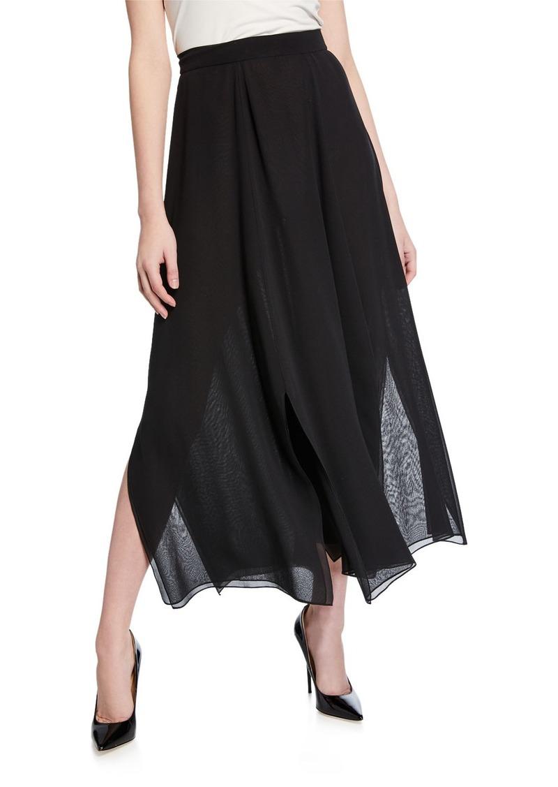 Max Mara Godet-Pleated Georgette Midi Skirt