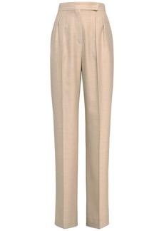 Max Mara High Waist Camel & Silk Wide Leg Pants