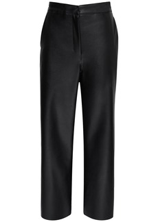 Max Mara High Waist Faux Leather Wide Leg Pants