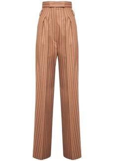 Max Mara High Waist Pinstripe Flannel Pants