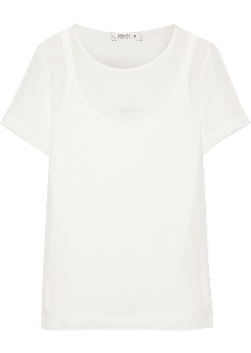 Max Mara Layered Silk-georgette And Jersey Top