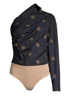 Max Mara Liana One-Shoulder Dot Bodysuit
