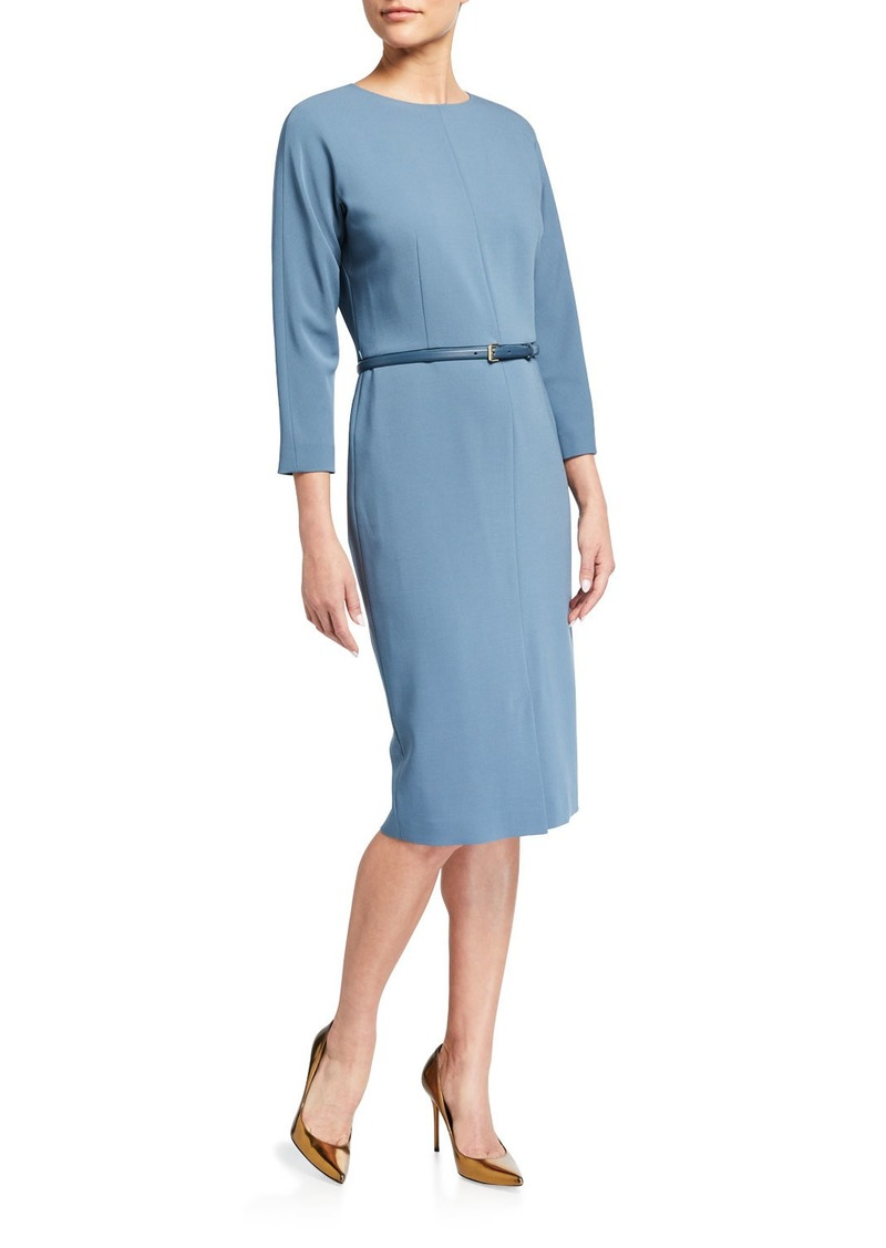 Max Mara Liriche 3/4-Sleeve Wool Dress