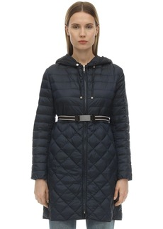 Max Mara Long Hooded Nylon Down Coat