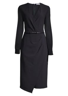 9da6641211c Max Mara Manuel Sheer Long-Sleeve Belted Virgin Wool-Blend Sheath Dress