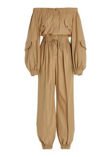 Max Mara - Women's Romana Cotton Gabardine Off-The-Shoulder Jumpsuit - Neutral - Moda Operandi