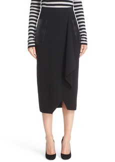 Max Mara Acqua Leather Pocket Wool Skirt