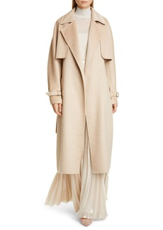 Max Mara Agar 2-in-1 Double Face Camel Hair & Cashmere Trench Coat