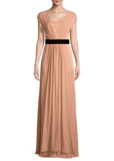 Max Mara Belted Floor-Length Gown