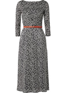 Max Mara Belted polka-dot silk and stretch-jersey midi dress