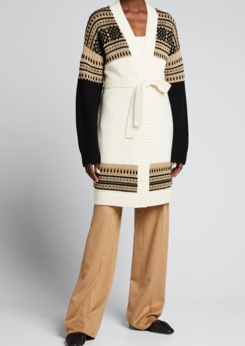 Max Mara Buona Colorblock Wrap Wool/Cashmere Cardigan