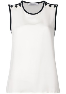 Max Mara buttoned shoulder sleeveless blouse - White