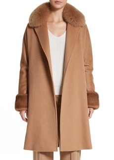 Max Mara Camel Hair Coat with Genuine Fox Fur & Genuine Mink Fur Trim