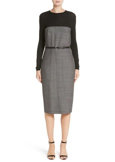 Max Mara Canapa Stretch Wool Layered Sheath Dress
