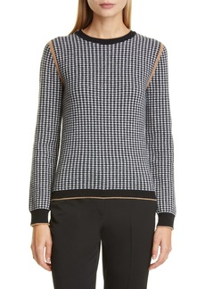 Max Mara Colle Houndstooth Jacquard Wool & Cashmere Pullover