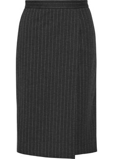 Max Mara Eracle wrap-effect leather-trimmed pinstriped wool-blend skirt