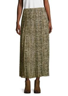 Max Mara Floral Pleated Maxi Skirt
