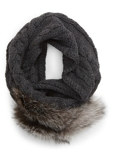 Max Mara Fragore Cable Knit Wool Scarf with Genuine Fox Fur