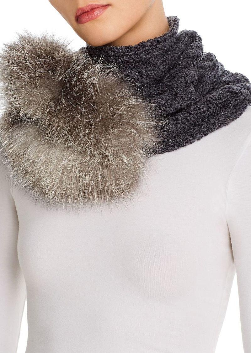 Max Mara Fragore Fox-Fur Trim Cable-Knit Snood