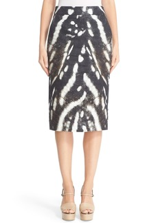 Max Mara Ghetta Print Lace-Up Pencil Skirt